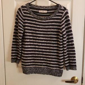 Loft Black & White Striped Sweater Size Small